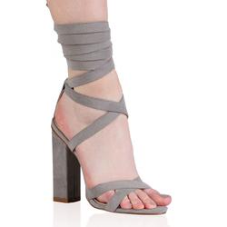 ac902e0dbd9 Public Desire Vera Lace Up Heels in Grey Faux Suede