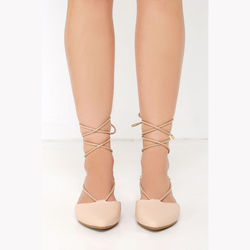 Lulus Line of Sight Nude Lace-Up Flats