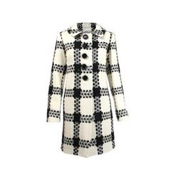 Milly Ecru Wool Check Coat Pradux