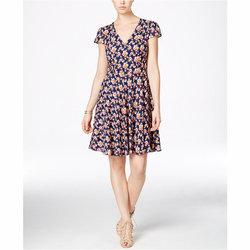 32619c229c2eb4 Betsey Johnson Floral-Print Cap-Sleeve Fit & Flare Dress | Pradux