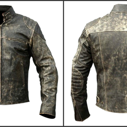 f6be21a8a1ee Men's Vintage Antique Distressed Black Retro Motorcycle Biker Leather Jacket