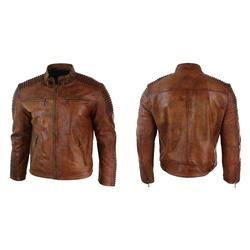 Men's Vintage Biker Cafe Racer Wax Distressed Brown Leather Jacket ...