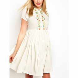 0ab72b9908437 Asos Maternity Exclusive Shirt Dress with Floral Embroidery | Pradux