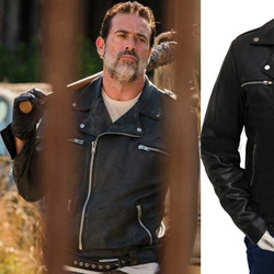 0934af158 The Walking Dead Season 7 Black Negan Real Leather Jacket