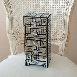 Live In Mosaics Mirror Mosaic Jewelry Box with Pinwheel Pattern Pradux