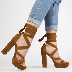 d877435c015 Public Desire Stella Lace Up Heels in Tan Faux Suede